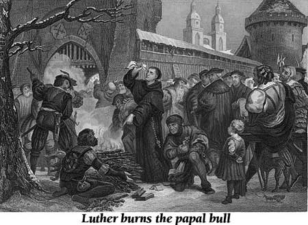 Luther burns the papal bull