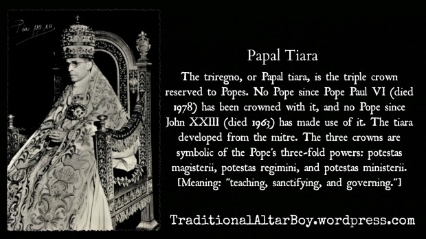 Papal tiara 3fold power teaching sanctifying governing